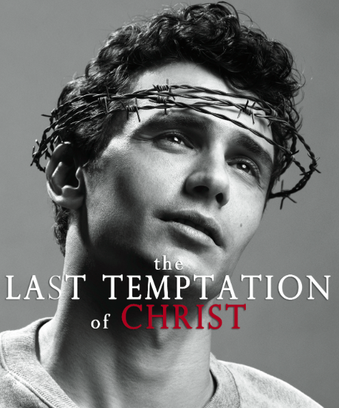 """Headshot of James Franco wearing crown of thorns with caption """"Last Temptation of Christ"""""""
