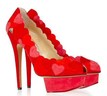 CHARLOTTE OLYMPIA Love Me heart suede pumps